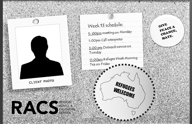 sketch of a lawyer's notice-board with RACS logo, refugees welcome sticker and planner