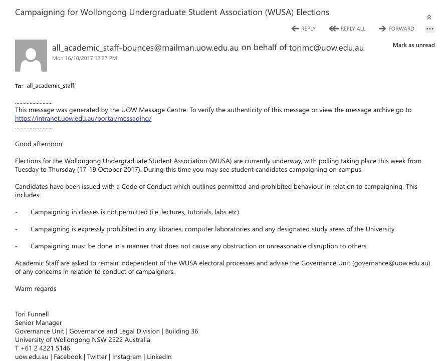 Email Sent to Wollongong Uni Staff