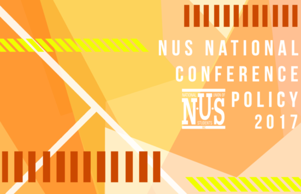 Orange and yellow stylised cover sheet, text reading NUS National Conference Policy 2017