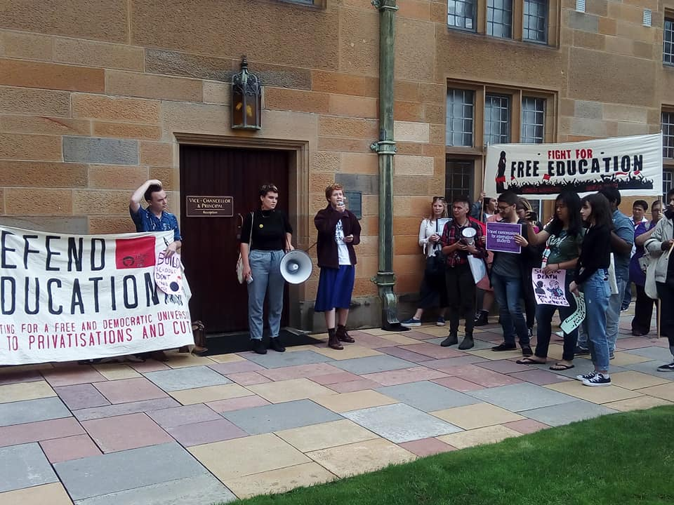 Image: protestors assemble out the front of University of Sydney Vice-Chancellor Michael Spence's office.
