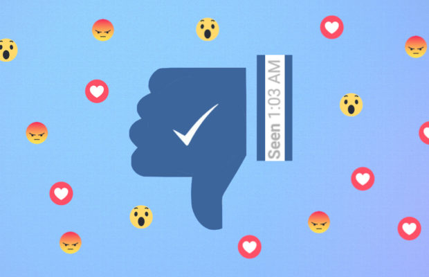 Collage of Facebook reacts: thumbs up, wow, angry, love and 'seen' message