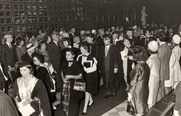 Archival image of the last meeting of Convocation. Source: Sydney University Archives mediabank