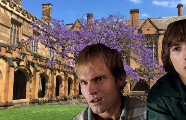 Photoshop - dude where's my car actors in front of the Quad