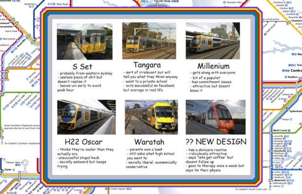A meme about Sydney train types
