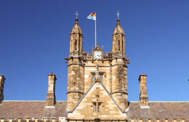 The university flag flies over the quad