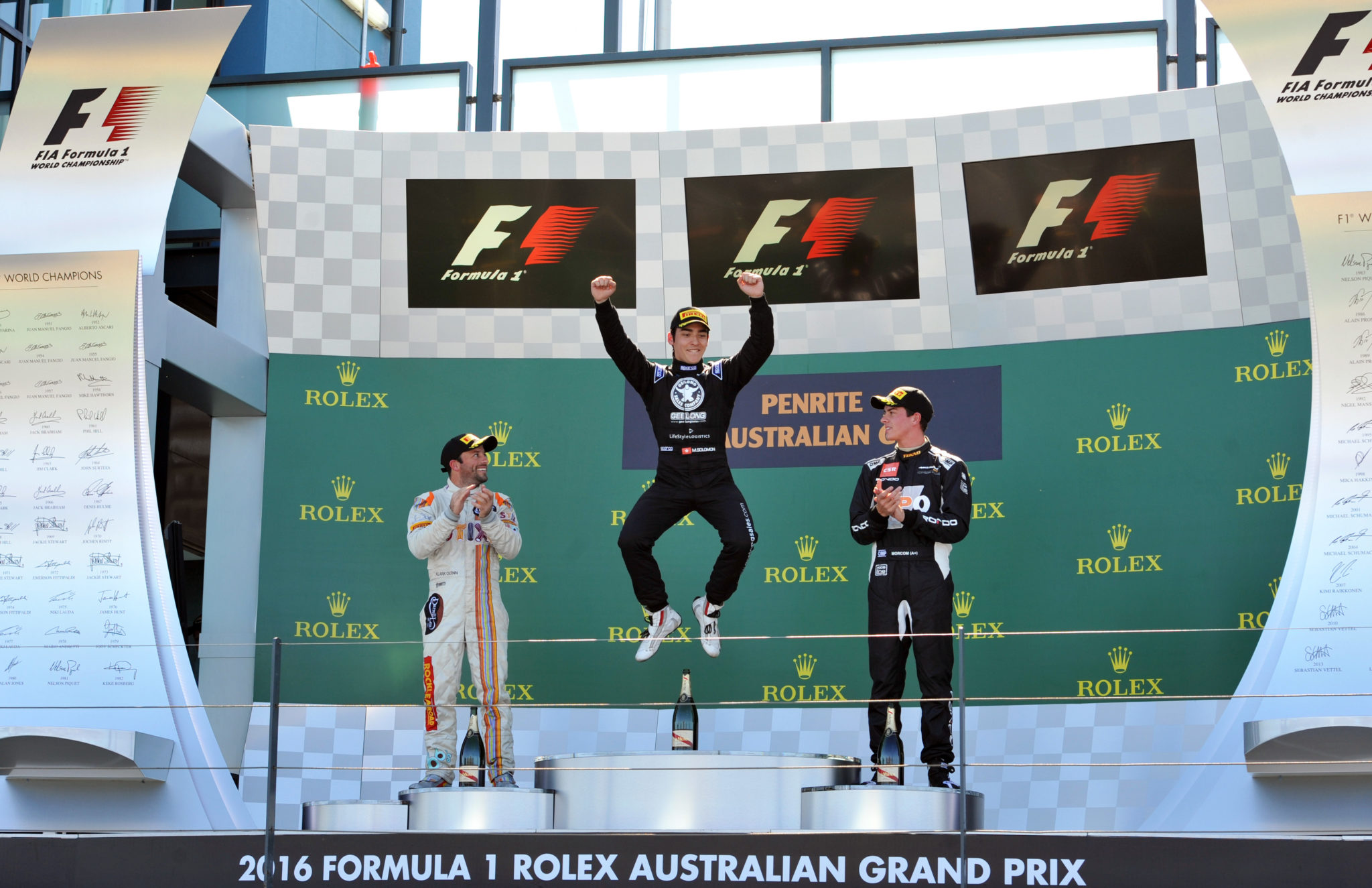 Matt Solomon on the podium at the Aus GP