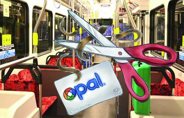 Scissors cutting hair and a floating opal card superimposed on a bus interior
