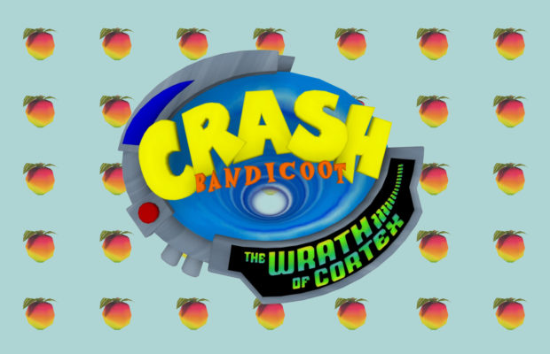 Crash bandicoot logo over fruit background