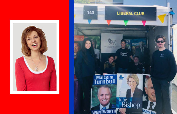 Bettina Arndt next to the Liberal Club stall - photoshop