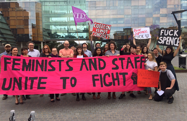 The Usyd Women's Collective and member of the National Tertiary Education Union (NTEU)  protesting the University's professional connection to accused sexual predator Charles Waterstreet.
