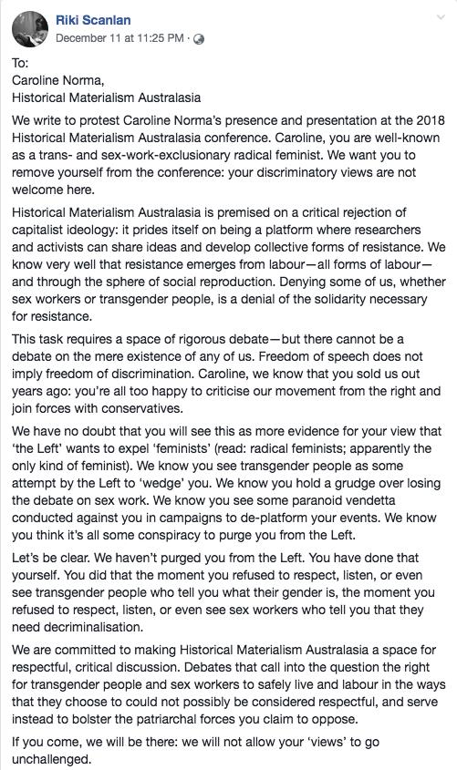 Riki Scanlan Letter to Caroline Norma