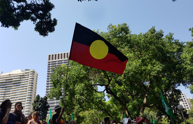 Aboriginal flag flying in Hyde Park. Photo: Annie Zhang.