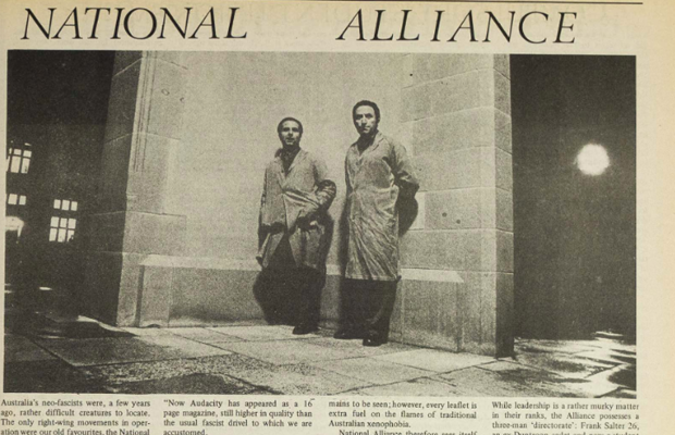 "A newspaper clipping showing two men with the headline ""National Alliance"""