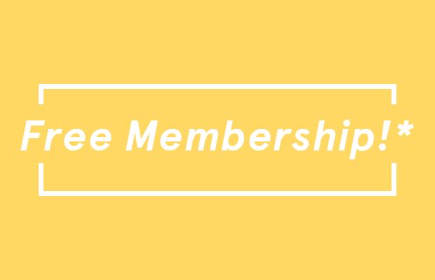Whit text against a yellow background which reads: Free membership! with an asterisk following.