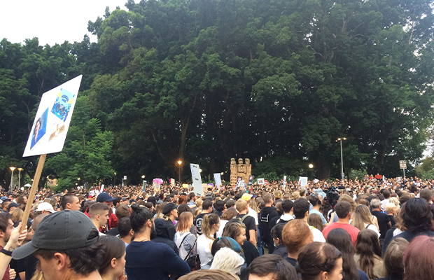 Protestors attend live music rally, photograph of protestors and some signs taken near Hyde Park Fountain