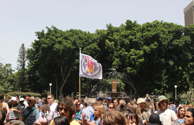 A FIRE flag flies over the rally at Hyde Park Fountain.