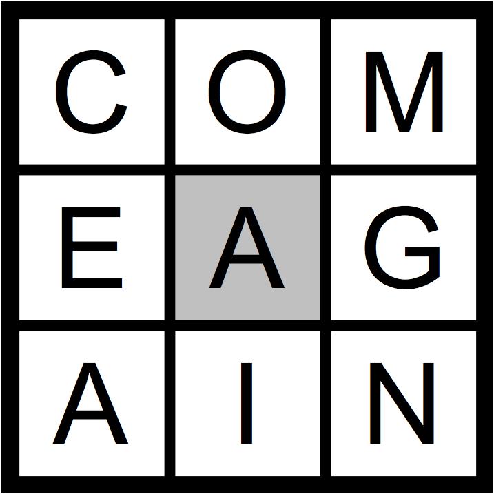 Letters: C O M E A G A I N
