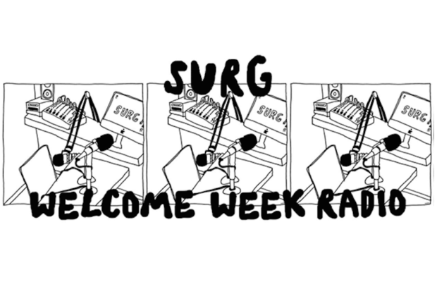 "A black and white design which reads ""SURG Welcome Week Radio"""