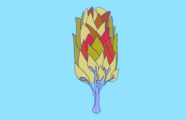 A tree with red, green and yellow leaves against a light blue background.