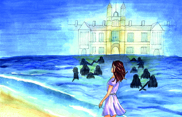 A person standing on the beach with figures swimming in the water. On the horizon is a fading quadrangle building.
