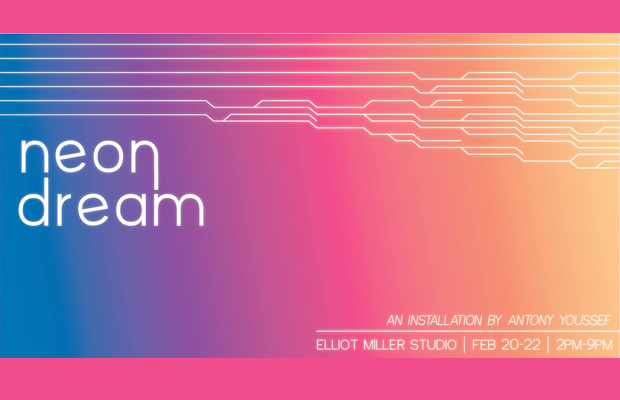 Advertisement for Neon Dream in pink, blue and purple