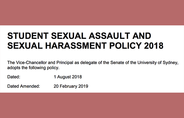 Red background with screenshot of University's sexual harassment policy amendment date
