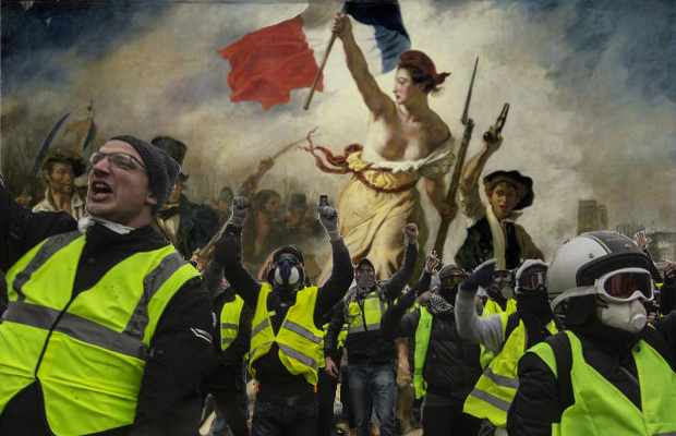 Photo of yellow vest protestors in foreground with historical art, Delacroix's 'La Liberté Guidant le Peuple'