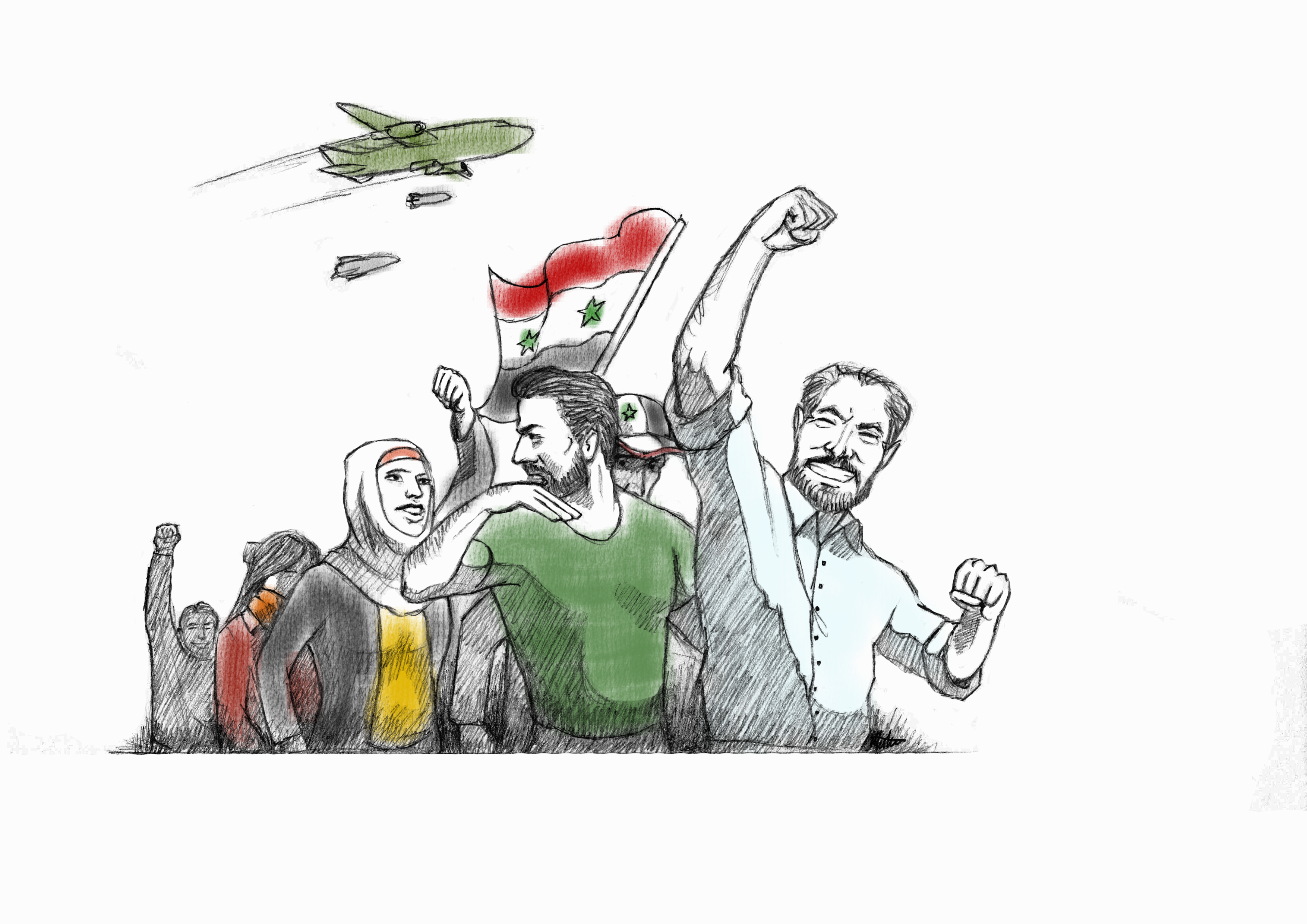 Assad supporters at a rally with a fighter jet dropping bombs on them.