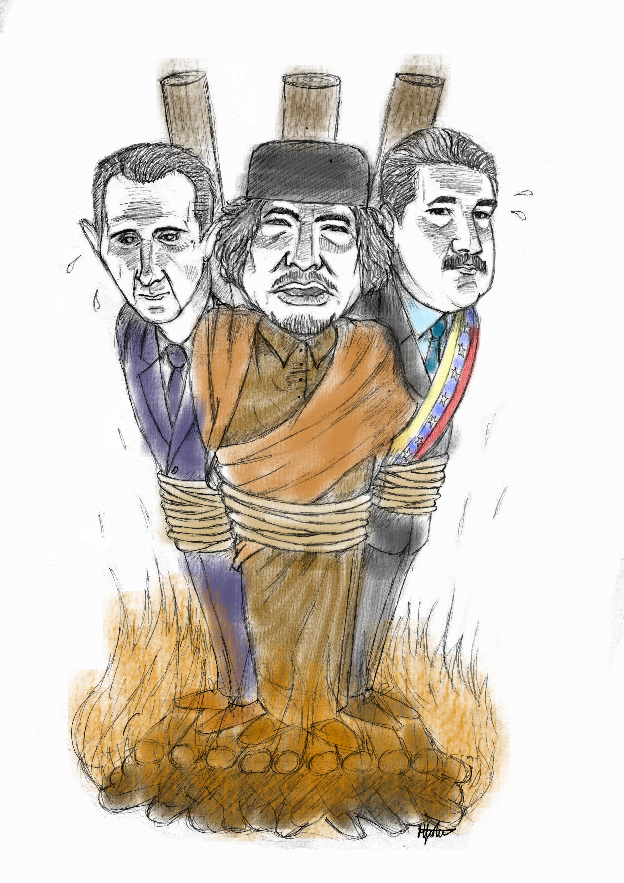 Gaddafi, Assad and Maduro being burned at the stake