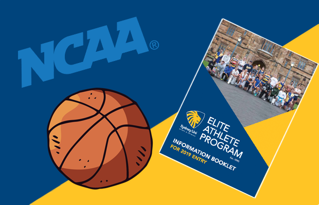 Photo of EAP program 2019 and NCAA logo alongside cartoon basketball