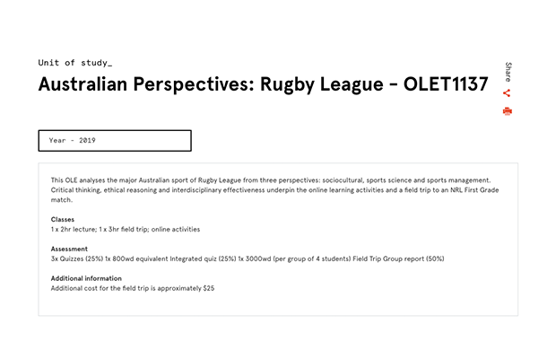 "A screenshot of the unit description for OLET1137, ""Australian Perspectives: Rugby League"""