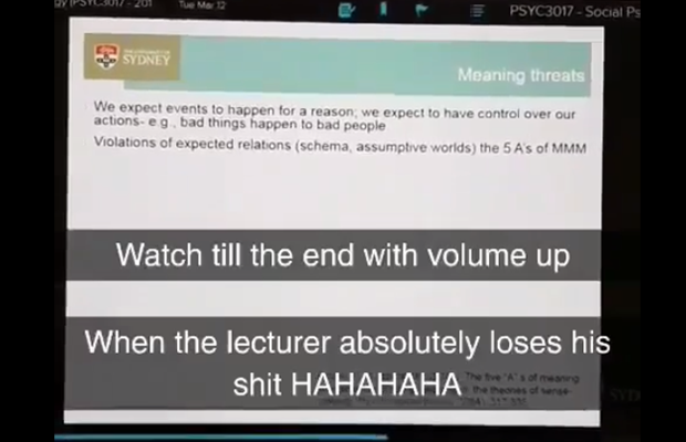 "Screenshot of a PSYC3017 lecture recording. The caption says ""watch till the end with the volume up"" and ""when the lecturer absolutely loses his shit HAHAHAHA"""
