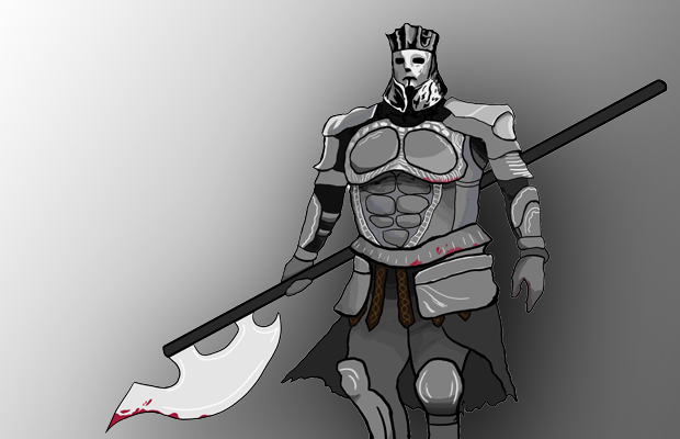 An artwork of an armour-clad boss from the game Dark Souls wielding an axe