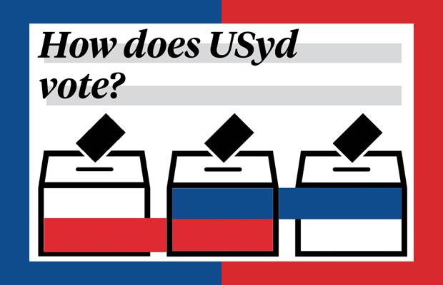 A red and blue graphic featuring clipart of a ballot box