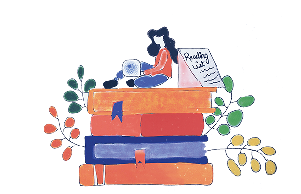 A girl sits on top of oversized textbooks