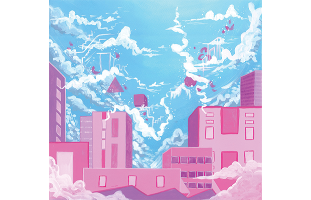 bright pink buildings against a blue sky that is filled with ethereal clouds and geometric shapes