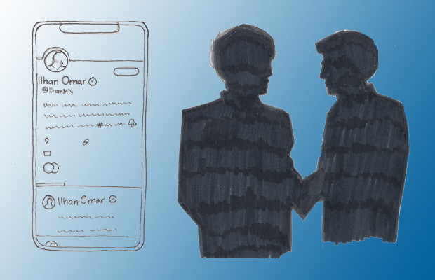 An illustration of two silhouetted individuals shaking hands and a Ilhan Omar's Twitter profile