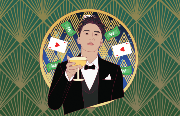 Seungri holds up a wineglass, standing against an art deco background with poker cards and money flying in the air.