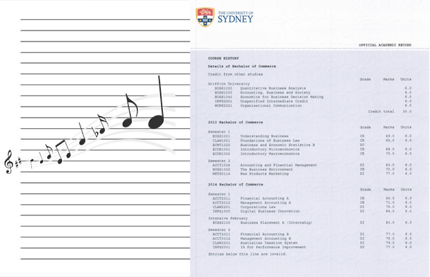photo of academic transcript on lined paper and musical notes