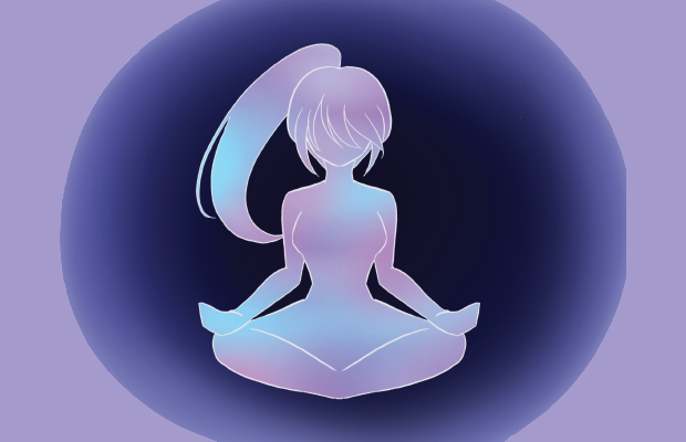 A silhouette of a female-presenting figure sitting in the lotus position.