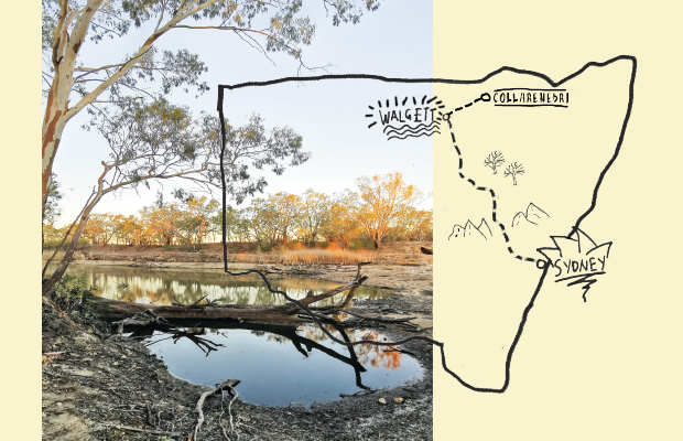 Photo of the Murray Darling Basin, with little water. Drawn on top is a sketched map of NSW mapping the drive from Sydney to Collarenebri