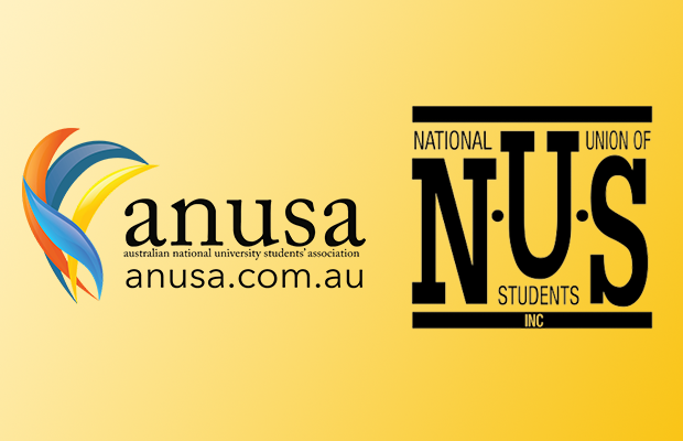 A graphic featuring the logos of ANUSA and the NUS on a yellow background