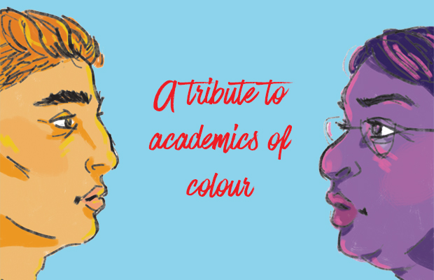 an illustration of the profile of two people of colour, facing each other.