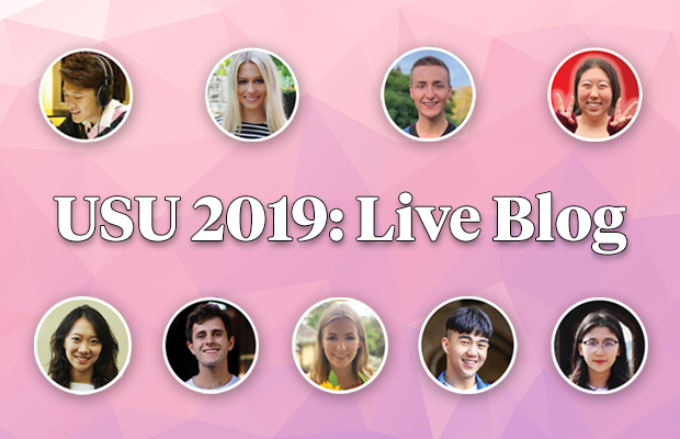 "All nine candidates over a pink background with the test ""USU 2019: Live Blog"" in the middle"