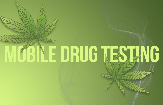 "The words ""Mobile Drug Testing"" over a green background with illustrations of marijuana leaves and smoke overlaying the text"