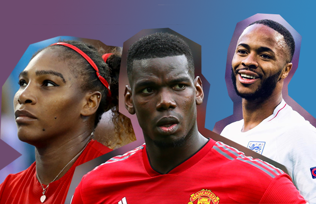 Serena Wiliams, Paul Pogba and Raheem Sterling