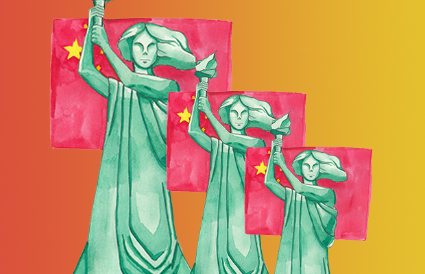 "Three ""Goddesses of Democracy"", a statue that symbolise the Tiananmen protests, over a red yellow gradient."
