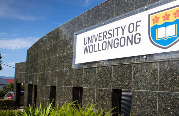 A photo of the University of Wollongong sign outside its main entrance