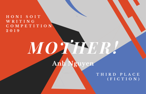 "An abstract background of red, black, grey and blue, with triangles, lines and crescents. The main text says ""Mother!"""