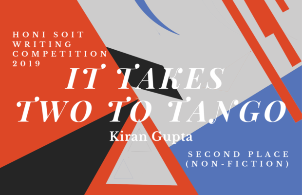 "An abstract background of red, black, grey and blue, with triangles, lines and crescents. The main text says ""It Takes Two to Tango."""